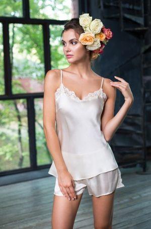 """Женская  пижама из шелка MIA-MIA """"Kristy"""" 15112 (топ и шорты)  купить в подарок девушке"""