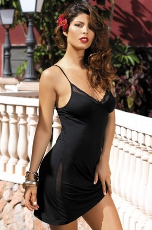 """Черная ночная сорочка MIA-MIA -  Karmen"""" 16030, короткая ночная сорочка Миа-Миа"""