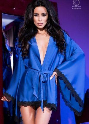 красивый синий Халат кимоно CHILIROSE - AMETHYST