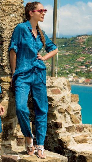 джинсовая голубая Пляжная блуза ICONIQUE 080, 100% хлопок