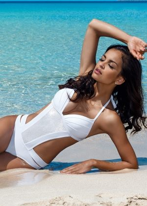 купить белый Слитный купальник монокини LORIN  4058