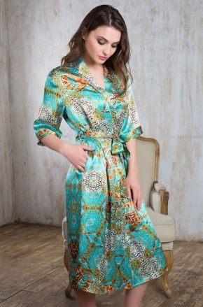 Длинный халат MIA-MIA - Adriana, 100% шелк