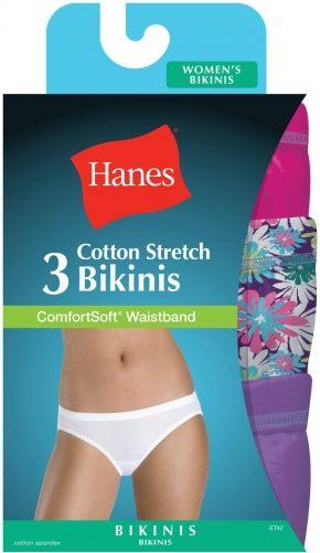 Трусы бикини Hanes - Cotton, ассорти. Набор 3 шт.
