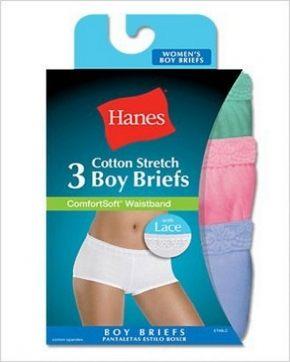 Трусы шорты с кружевом Hanes - Cotton, ассорти. Набор 3 шт.