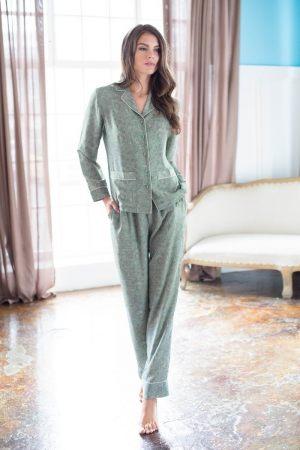 Женская длинная пижама (комплект для дома)  MIA-MIA - Olivia, Женская пижама с жакетом и брюками Mia-Mia