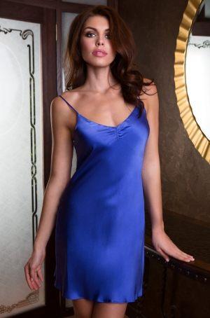 синяя женская ночная сорочка  MIA-MIA15090 - Mary&Rose  из  натурального шелка -  купить