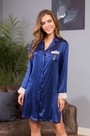синяя шелковая сорочка рубашка