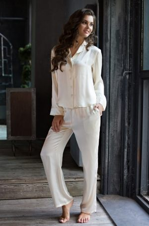 "Длинная пижама из шелка MIA-MIA ""Kristy"" 15116 (брюки и жакет)  - купить"