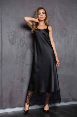 черное домашнее Платье макси на бретелях Mia-Mia - EVELINE