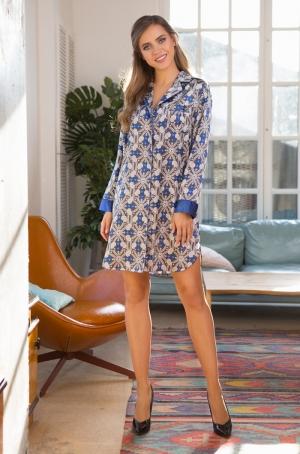 Рубашка домашняя Mia-Mia MELANIA 17555 синий в интернет-магазине Flirt-Time.ru