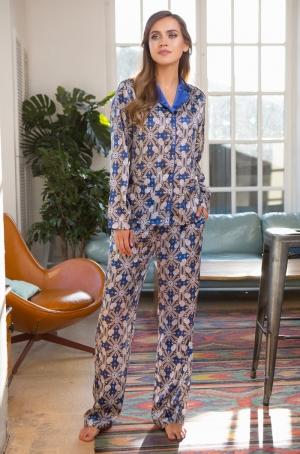 женская Пижама MIA-MIA 17556 MELANIA синий в интернет-магазине Flirt-Time.ru
