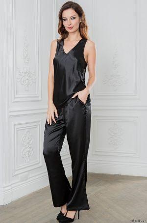 черная Длинная пижама с брюками и топом MIA-AMORE купить
