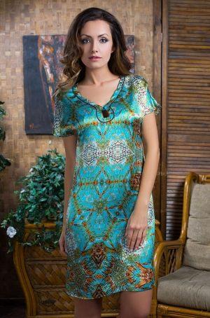 домашняя Шелковая женская сорочка-туника Mia-Mia