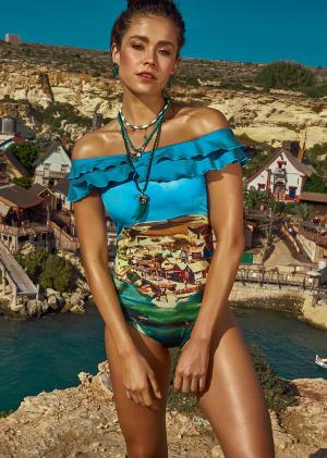 красивый Слитный купальник с оборкой Maryssil - CRUISE синий купить