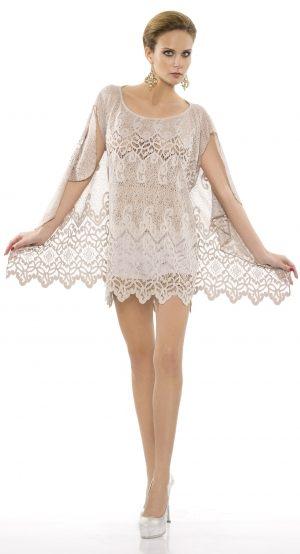 Ажурное пляжное платье Rebecca бежевое