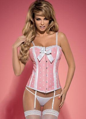 Розовый эротический корсет Obsessive -  DOTTIE CORSET: комплект со стрингами