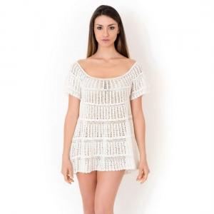 ажурное белое Пляжное платье мини Iconique - AZURE купить платье иконик италия