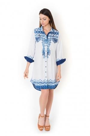 Хлопковая пляжная туника блуза с рукавами ICONIQUE