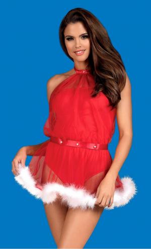 Игровой Красный новогодний костюм  Санты от Obsessive