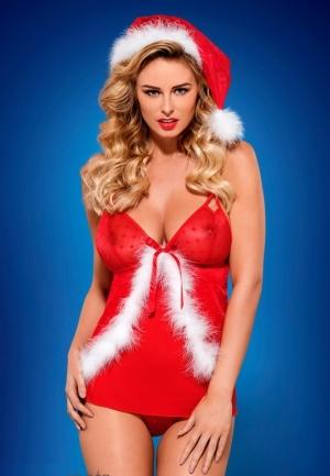 купить красный новогодний костюм  Obsessive - SANTACUTIE BABYDOLL