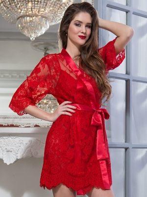 Кружевной красный  халат  кимоно MIA-AMORE 2053 - Flamenco - купить