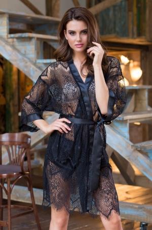 черный кружевной Халат кимоно MIA-MIA 17437 - Magdalena
