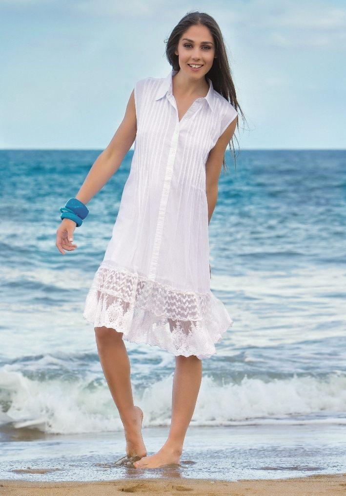 Белая пляжная туника