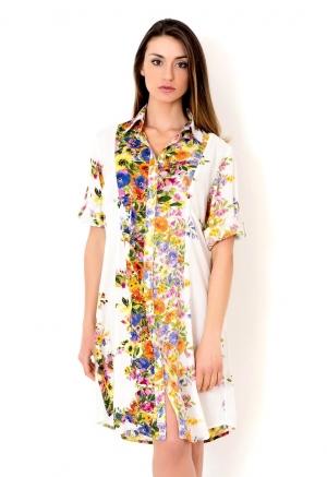 белая желтая Хлопковая пляжная туника-блуза с рукавами ICONIQUE  (Италия)