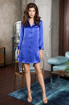 Рубашка Mia-Mia - ROSEMARY blue, 100% шелк
