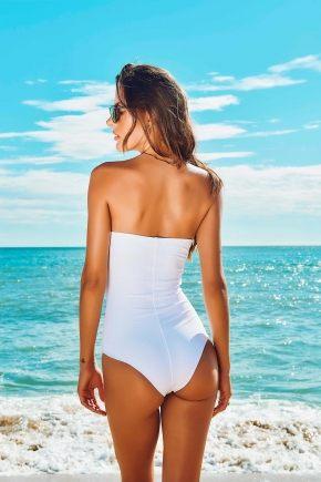 Слитный купальник бандо пуш-ап  LISA WHITE