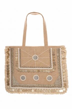 Пляжная сумка с декором ICONIQUE - NATURAL