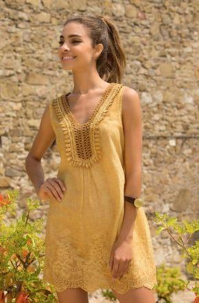 Пляжное платье Iconique 071 senape, 100% хлопок