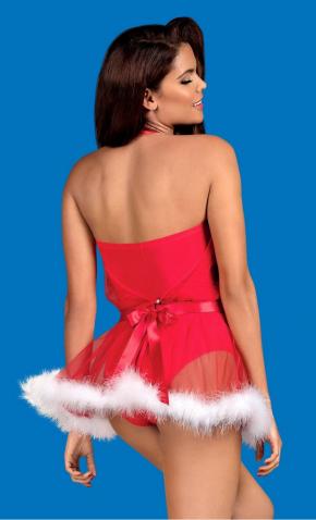 Новогоднее боди с юбкой Obsessive - SANTA