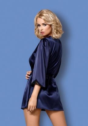 Халат Obsessive - SATINIA BLUE + стринги