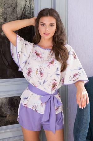 Короткая женская пижама MIA-MIA - Floriana: топ + шорты